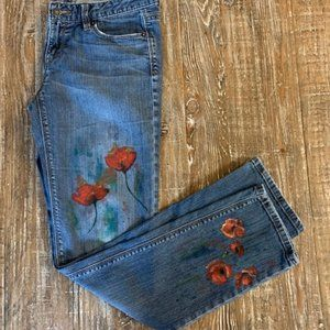 Altered Ann Taylor LOFT Denim Jeans Handpainted